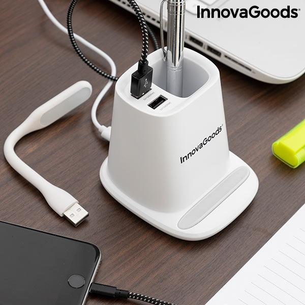 Încărcător wireless cu suport organizator și lampă LED USB 5-în-1 DesKing [2]