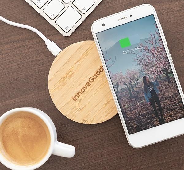 Încărcător wireless din bambus 0