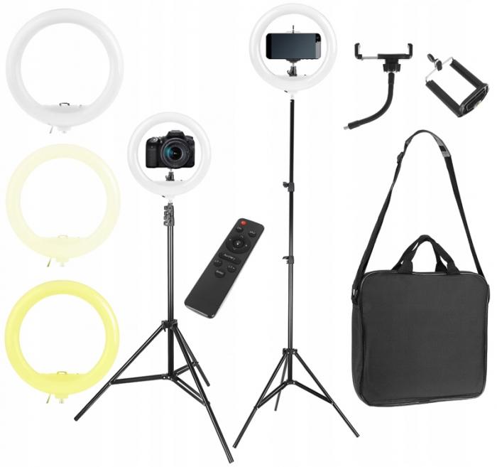 Lampa circulara portabila, cu putere de 30W pentru foto, make-up, cosmetica 1