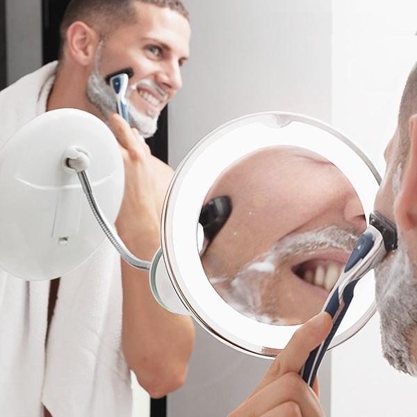 Oglindă cosmetică cu LED cu picior flexibil și ventuză Mizoom 1