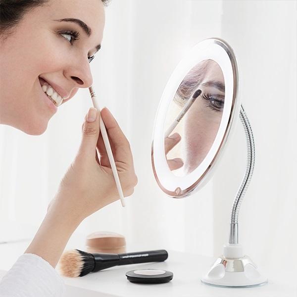 Oglindă cosmetică cu LED cu picior flexibil și ventuză Mizoom 0