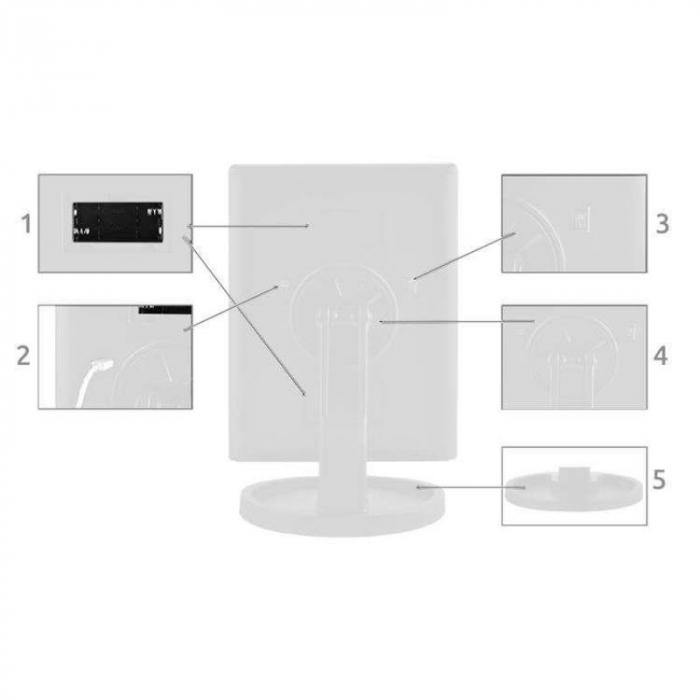 Oglinda cu LED pentru machiaj, marire imagine de 2x si 3x, cu buton tactil 1