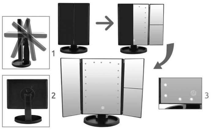 Oglinda cu LED pentru machiaj, marire imagine de 2x si 3x, cu buton tactil 2