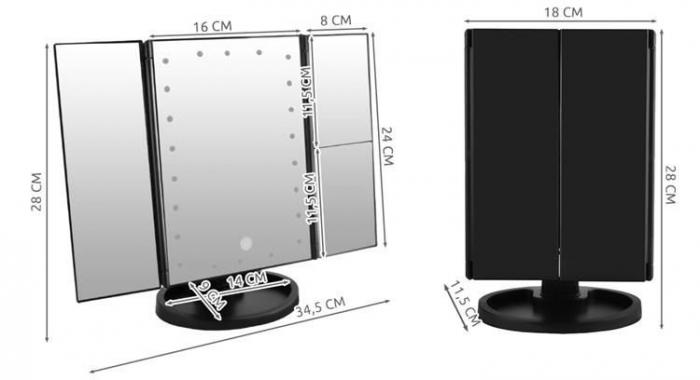 Oglinda cu LED pentru machiaj, marire imagine de 2x si 3x, cu buton tactil 4