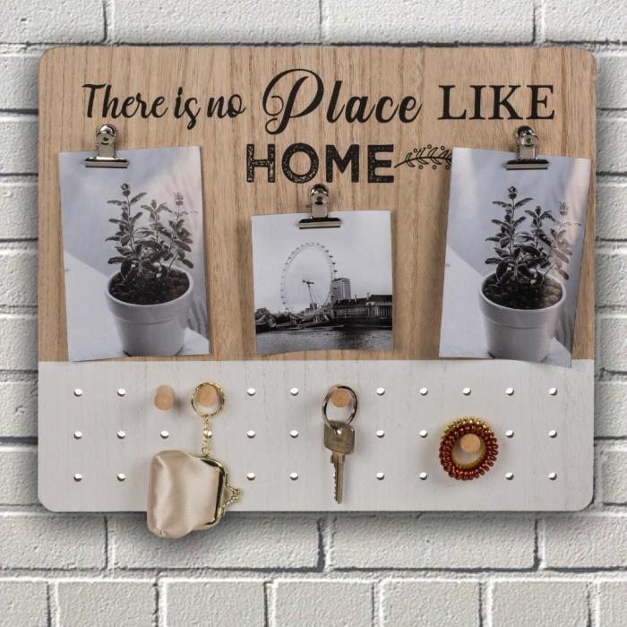 Suport de chei din lemn cu cleme pentru fotografii 0