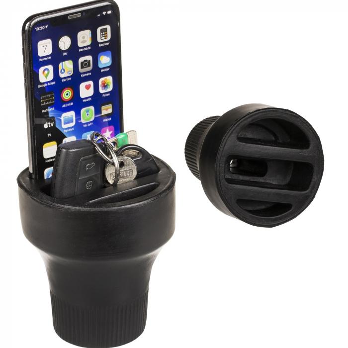 Organizator auto, pentru smartphone, fixare in suportul de pahare 1