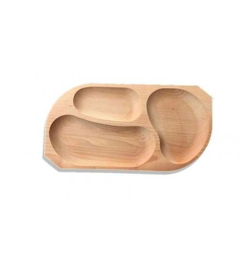Platou din lemn 3 compartimente 0