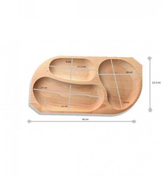 Platou din lemn 3 compartimente 1