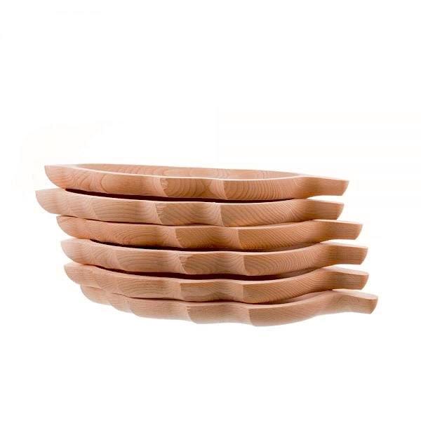 Set de 6 platouri din lemn in forma de frunza 2