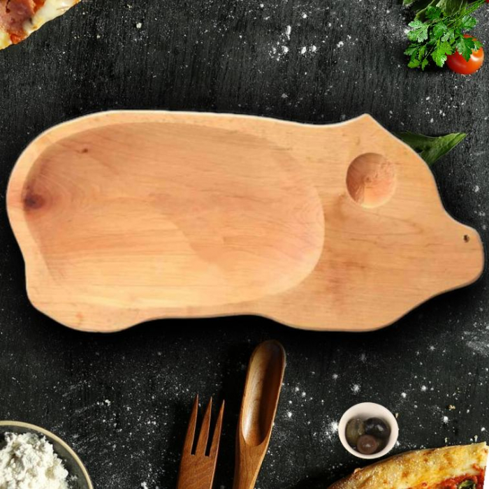 Platou lemn forma de porcusor 0