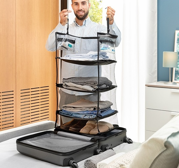 Raft pliant tip organizator portabil pentru bagaj. Sleekbag 0