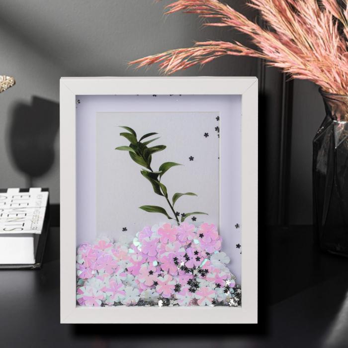 Rama foto Flower Glitter personalizata cu o fotografie 0