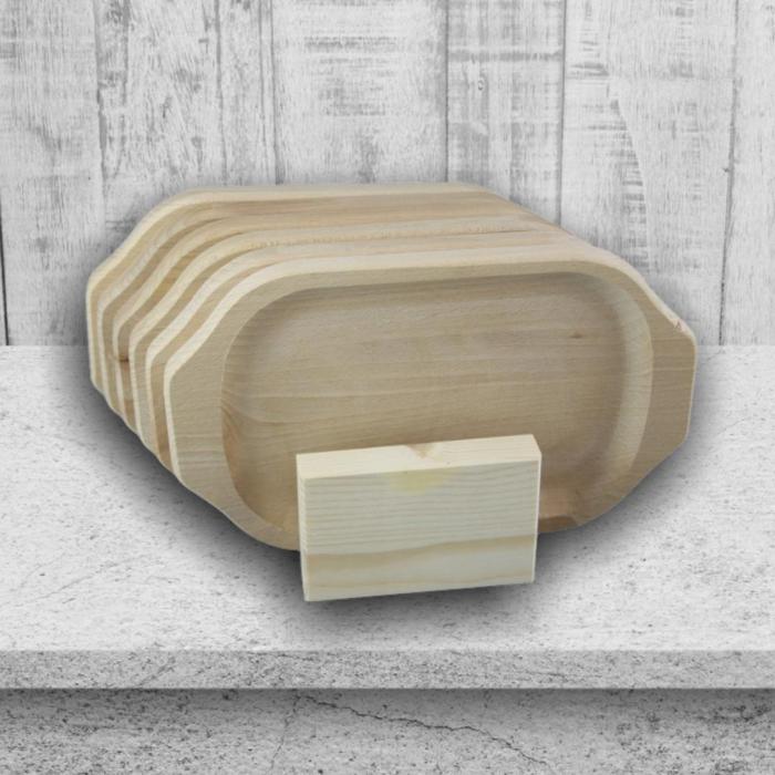 Set 6 farfurii din lemn cu suport 0