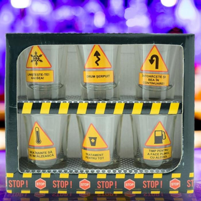 Set 6 pahare tip shot-uri - Road Signs 0