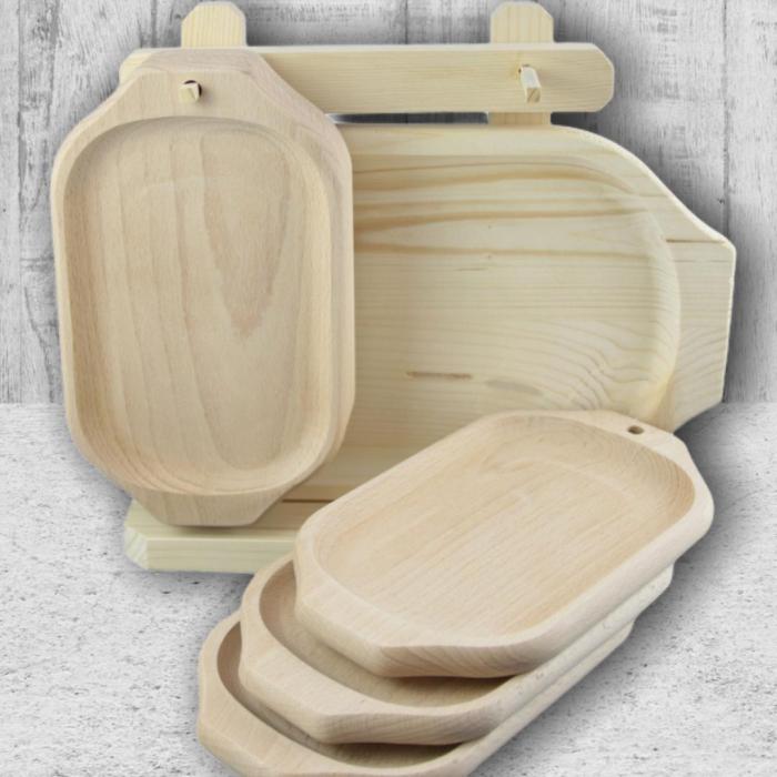 Set 7 farfurii din lemn cu suport 0