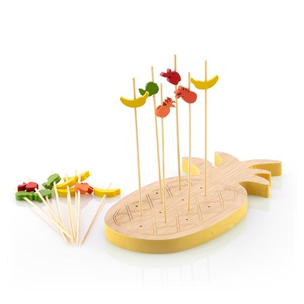 Set platou de bambus pentru aperitive Ananas