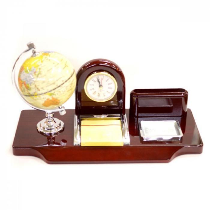Suport de birou cu glob pamantesc si ceas 0