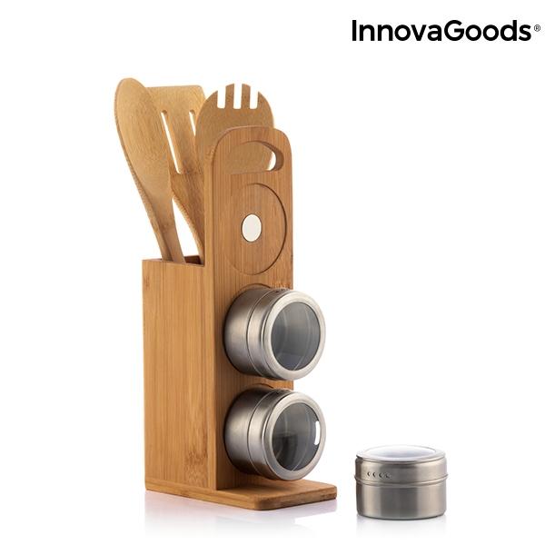 Set de rafturi magnetice pentru condimente cu ustensile din bambus Bamsa 5