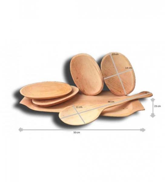 Set platou ,lingura si farfurii de lemn