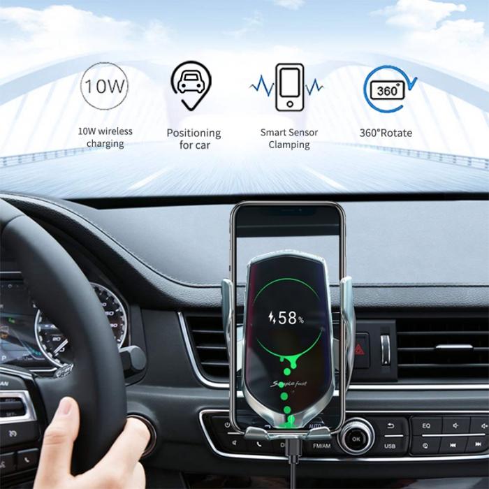 Suport auto cu incarcator wireless si senzor inteligent, USB