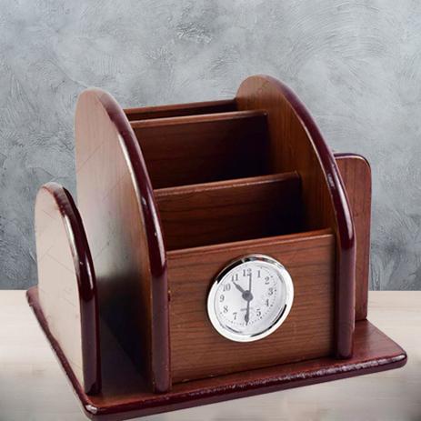Suport din lemn pentru birou cu ceas 0