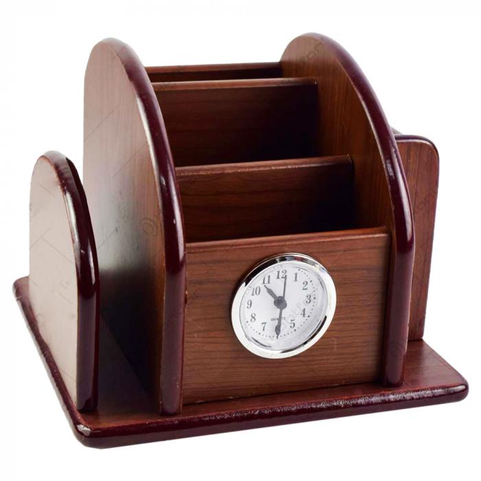 Suport din lemn pentru birou cu ceas 1