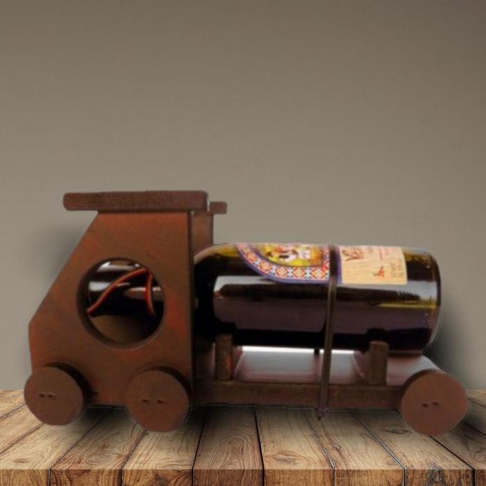 Suport vin camion mic din lemn cu sticluta