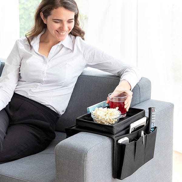 Organizator pentru canapea cu tavita pentru gustari 2