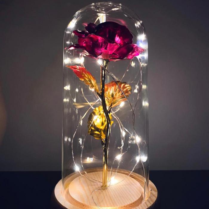 Trandafir in cupola de sticla decorat cu lumini led 1