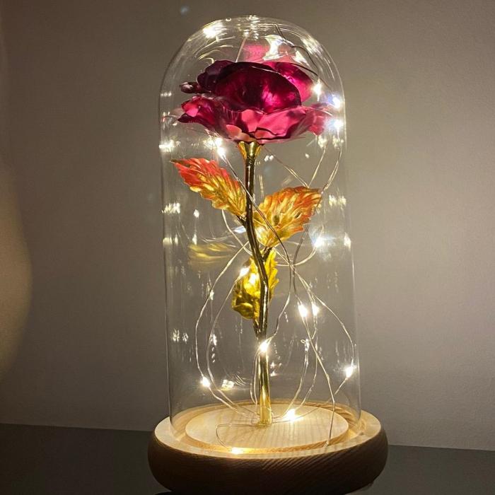 Trandafir in cupola de sticla decorat cu lumini led 3