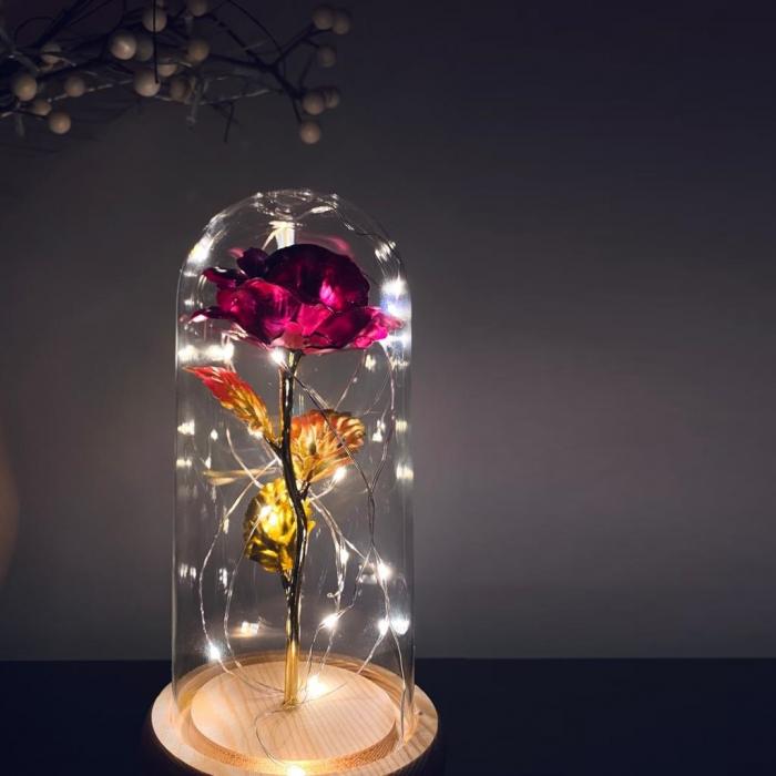 Trandafir in cupola de sticla decorat cu lumini led 0