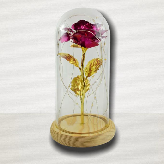 Trandafir in cupola de sticla decorat cu lumini led 2