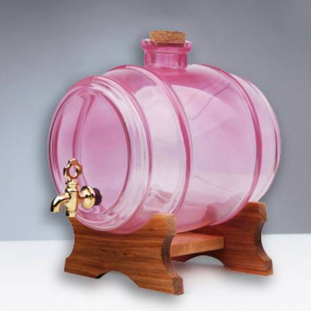 Butoi din sticla roz cu robinet - 1 litru0