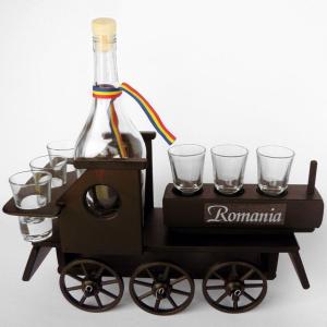 Minibar din lemn locomotiva cu 6 pahare si sticla0