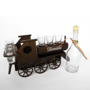 Minibar din lemn locomotiva cu 6 pahare si sticla1