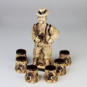 Set cesti cu ulcior pentru tuica, din ceramica, Model Ciobanas