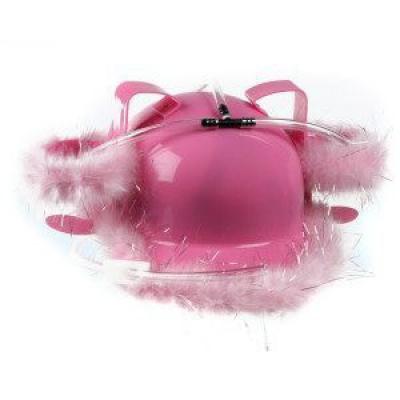 Casca roz cu pene pentru baut bere0