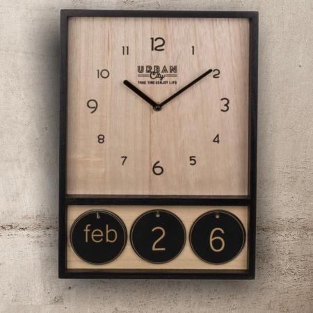 Ceas de perete din lemn cu calendar Urban0