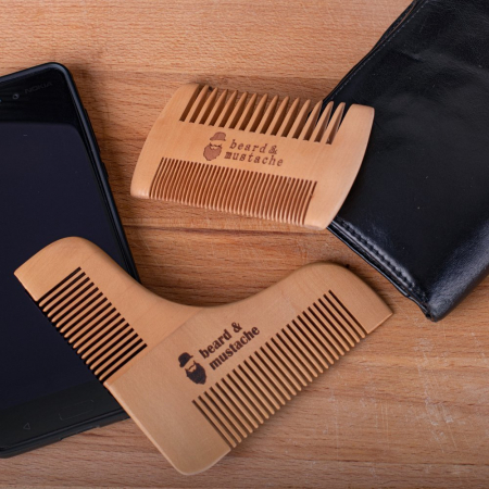 Set de pieptene din lemn pentru barbă și mustață0