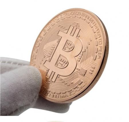 Moneda Bitcoin BTC in carcasa din plastic4
