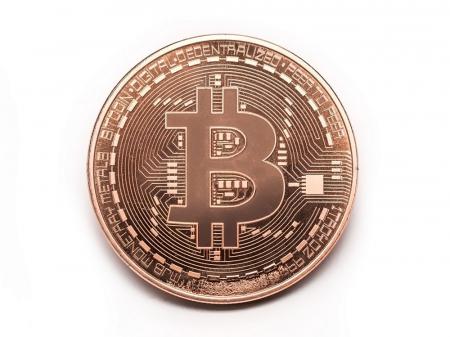 Moneda Bitcoin BTC in carcasa din plastic2