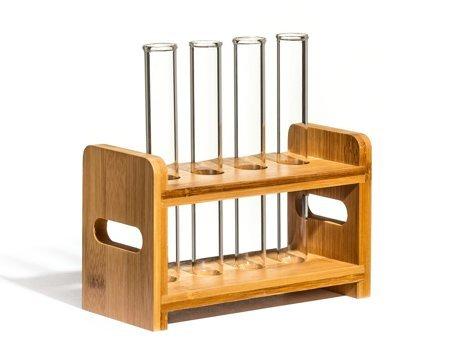 Set eprubeta sticlă  4 buc cu suport din lemn [2]