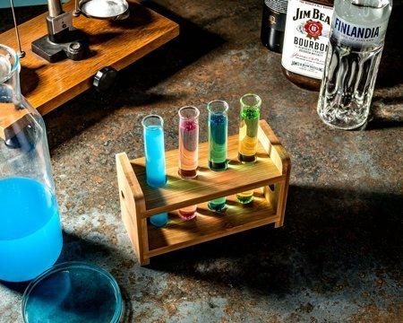 Set eprubeta sticlă  4 buc cu suport din lemn [3]