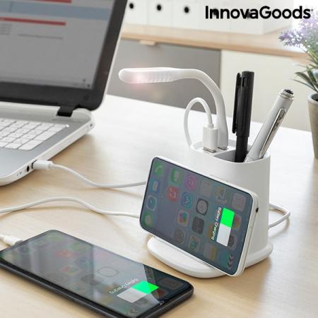 Încărcător wireless cu suport organizator și lampă LED USB 5-în-1 DesKing [1]