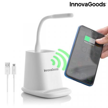 Încărcător wireless cu suport organizator și lampă LED USB 5-în-1 DesKing [5]