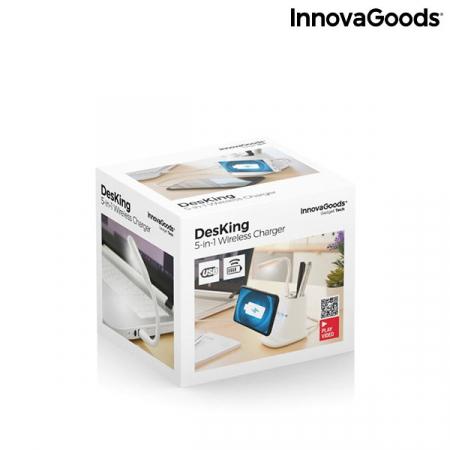 Încărcător wireless cu suport organizator și lampă LED USB 5-în-1 DesKing [7]