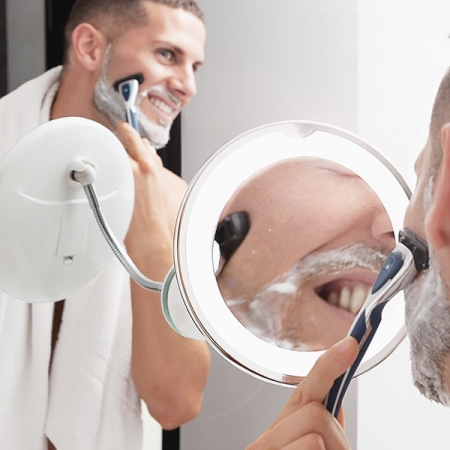 Oglindă cosmetică cu LED cu picior flexibil și ventuză Mizoom1