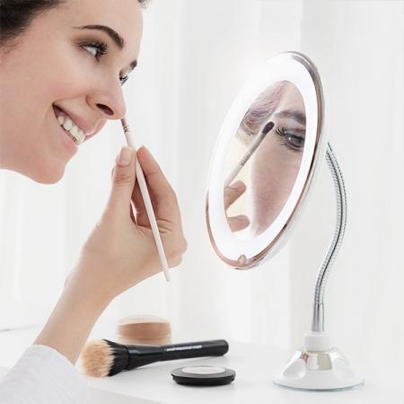 Oglindă cosmetică cu LED cu picior flexibil și ventuză Mizoom0