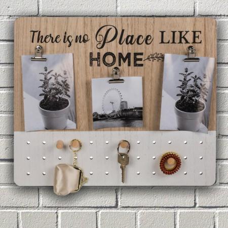 Suport de chei din lemn cu cleme pentru fotografii