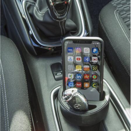 Organizator auto, pentru smartphone, fixare in suportul de pahare